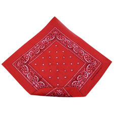 A red paisley bandana about to be folded from the bottom.