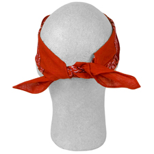 Close up of the tied red bandana on a dummy head,