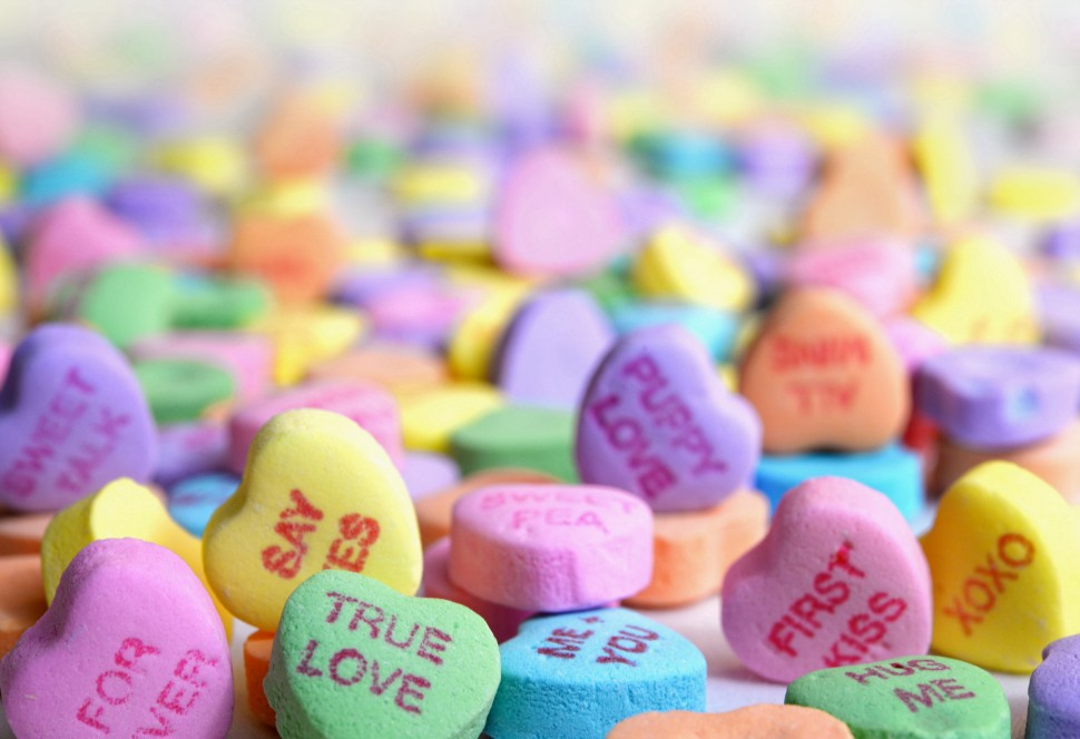 Heart candies with words like