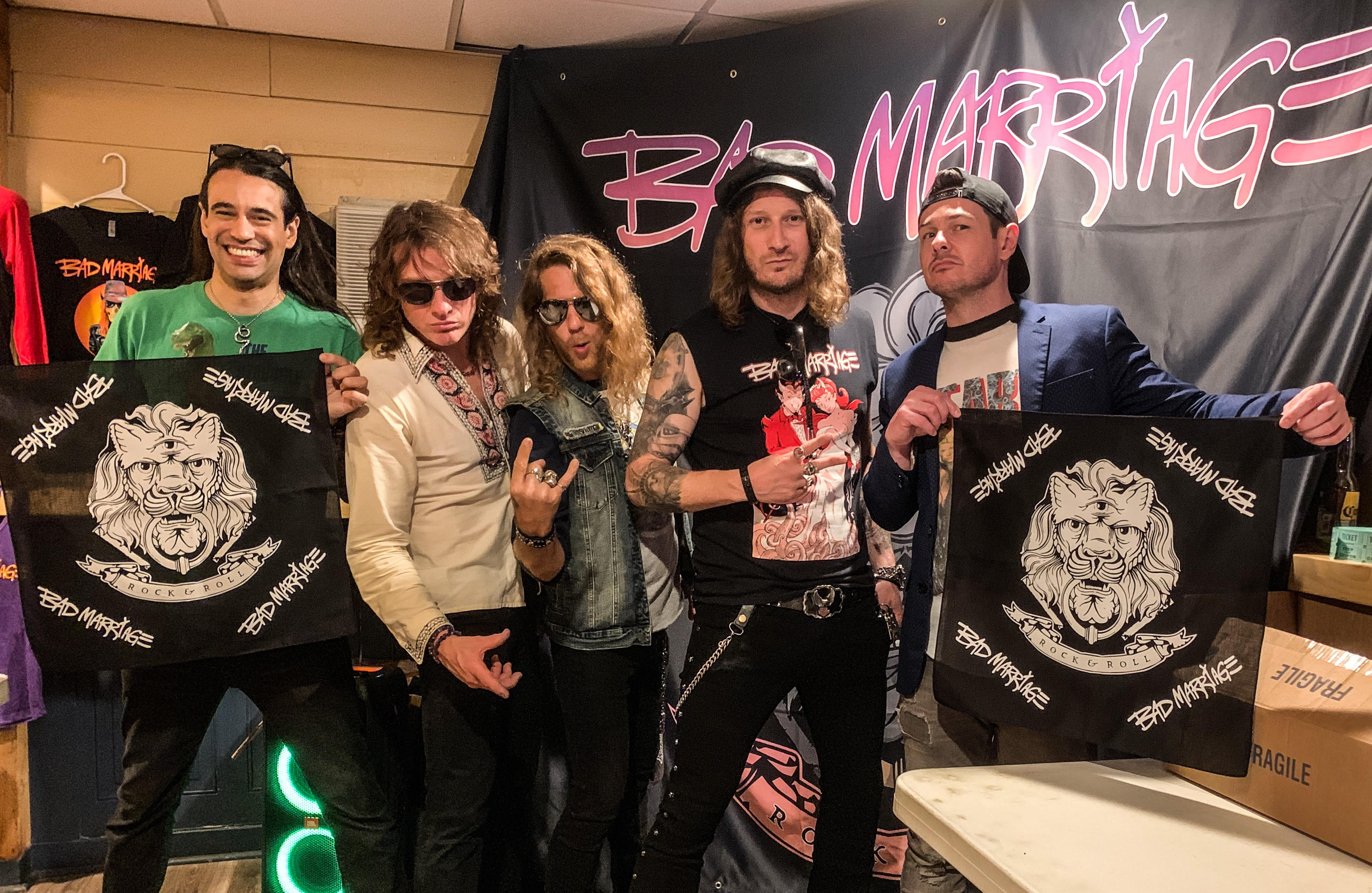 custom printed bandanas for classic rock band Bad Marriage VIP Package