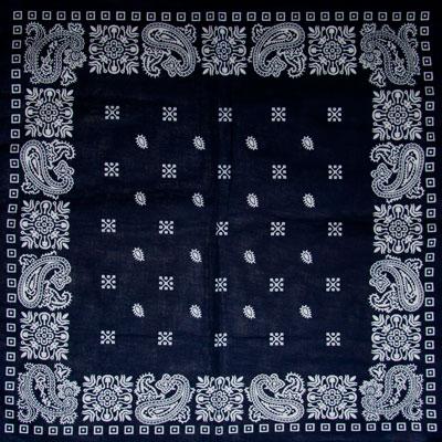 Navy Blue Square Paisley Bandana 22x22 Inch