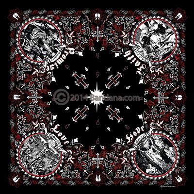 Jesus Christ Christian Bandana Black Amp Red 22x22