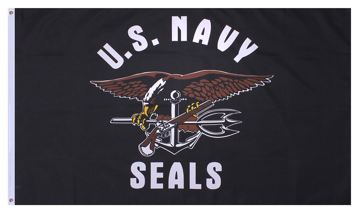 Us Navy Seals Flag 3ft X 5ft Polyester Imported