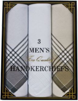 Mens Handkerchief Gift Box - 2 Assorted Plaid - 1 White - 15x15 -3 Pack