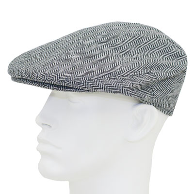ea60db6b0 Grey and Black Herringbone Ivy Cap - Wool Blend - Single Piece