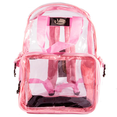 Clear PVC Plastic Backpack - Pink Trim - 13.25x16x6 ...