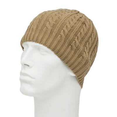 65f478a0192 Womens Khaki Cable Knit Beanie - Ribbed Trim - Acrylic - Dozen ...