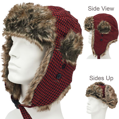 11e8e6a19a3b9 Red and Black Houndstooth Trapper Hat - Faux Fur - Wool Blend - Single  Piece - Imported  WholesaleForEveryone.com