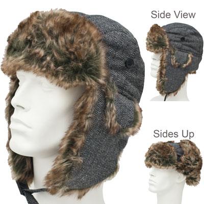cbf65a968cb Black and Light Grey Herringbone Trapper Hats - Faux Fur - Polyester - Case  - 72 pcs - Imported  WholesaleForEveryone.com