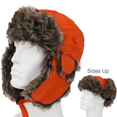 Blaze Orange Trapper Hats - Faux Fur - Polyester - Dozen Packed - Imported f7f9378351b