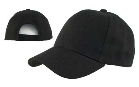 Black Wool Look Baseball Hat with Adjustable Velcro Back - Single Piece   WholesaleForEveryone.com 71d26fe792a