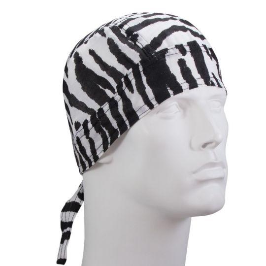 New Blue Pinstripe Flames Over Grey Headwrap Doo Rag Headwrap Skull Cap