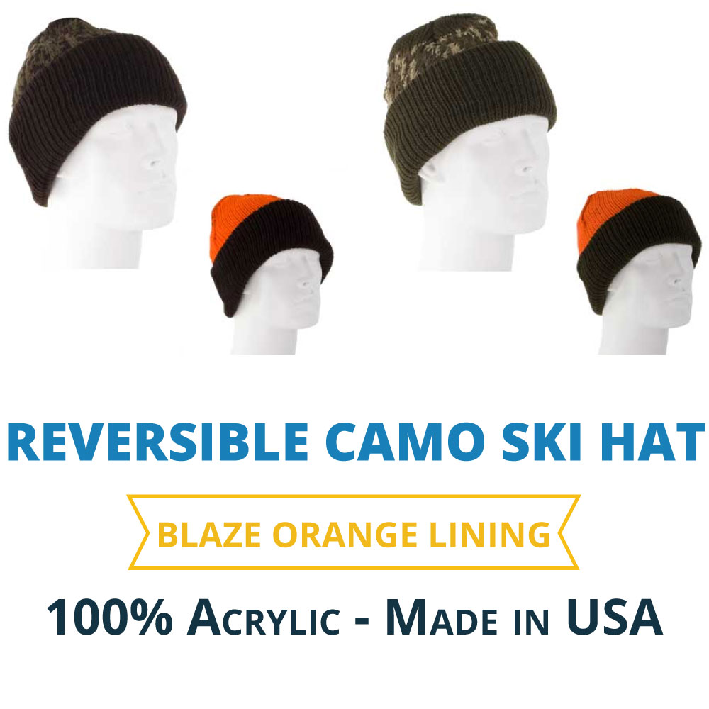 cd0dc72a89e Reversible Camo Ski Hat with Blaze Orange Lining  WholesaleForEveryone.com